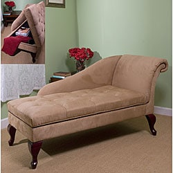 Tan Chaise Lounge with Storage