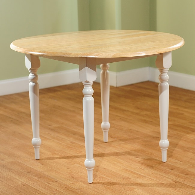 Rubberwood 40 In Diameter Round Drop Leaf Table Dining Furniture Bar