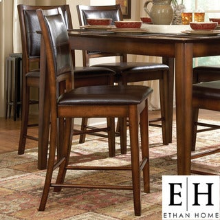 ETHAN HOME Frisco Bay Burnished Oak 24-inch Counter Stool (Set of 2)