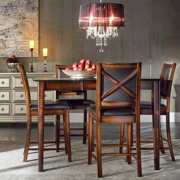 TRIBECCA HOME Frisco Bay Burnished Oak 5-piece Extending Counter Height Dining Set