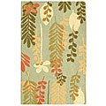 Handmade Ferns Contemporary Light Blue Wool Runner (2'6 x 4')