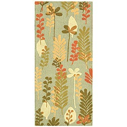 Safavieh Handmade Ferns Contemporary Light Blue Wool Runner (2'6 x 6')