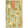Handmade Ferns Contemporary Light Blue Wool Rug (2'9 x 4'9)