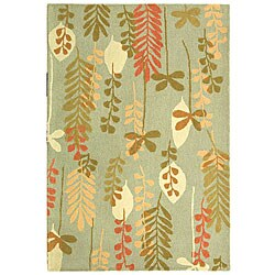 Safavieh Handmade Ferns Contemporary Light Blue Wool Rug (3'9 x 5'9)