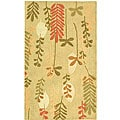 Handmade Ferns Contemporary Taupe Wool Rug (2'9 x 4'9)