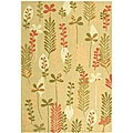 Handmade Ferns Contemporary Taupe Wool Rug (5'3 x 8'3)