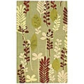 Handmade Ferns Light Green Wool Rug (2'9 x 4'9)