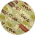 Handmade Ferns Light Green Wool Rug (4' Round)