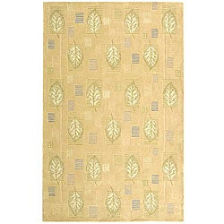 Handmade Foliage Beige Wool Rug (7'9 x 9'9)