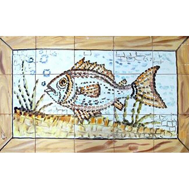 Mosaic 39 aquarium fish 39 15 tile ceramic wall mural for Ceramic wall mural