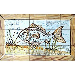 Mosaic 'Aquarium Fish' 15-tile Ceramic Wall Mural