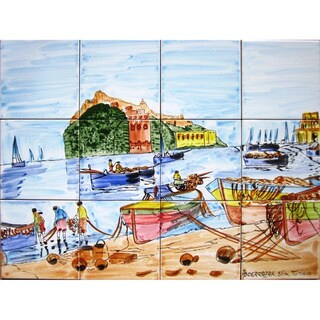 Mosaic 'Portofino Fishermen' 12-tile Ceramic Wall Mural