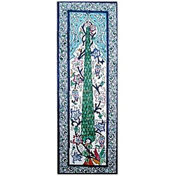 Mosaic 'Pine Tree' 12-tile Ceramic Wall Mural