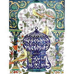 Mosaic 'Family Dove Birds' 12-tile Ceramic Mural