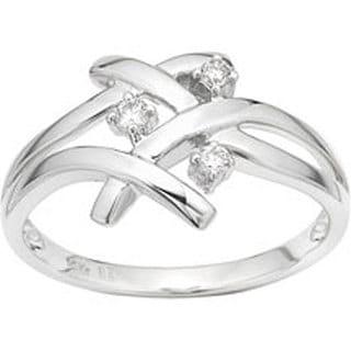 Miadora 10k Gold 1/10ct TDW Diamond Criss-cross Ring (H-I, I1-I2) with Bonus Earrings