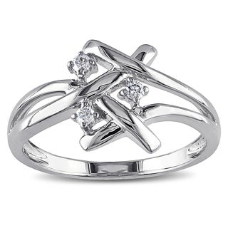 Miadora 10k Gold 1/10ct TDW Diamond Criss-cross Ring (H-I, I1-I2)