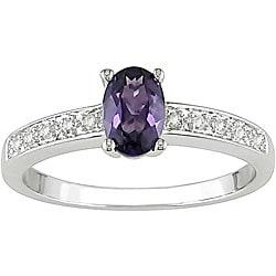 Miadora 10k Gold Created Alexandrite and Diamond Accent Ring