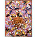 Terra Cotta Flower and Bird 12-tile Ceramic Wall Mosaic