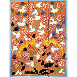 Terra Cotta Floral and Peacock 12-tile Ceramic Wall Mosaic