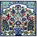 Antique-style Peacock 9-tile Ceramic Mosaic