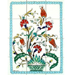 Exotic Flowery Vase 12-tile Ceramic Wall Mosaic