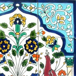 Peacock Antique-style 12-tile Ceramic Wall Mosaic