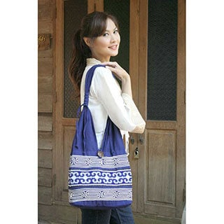 Cotton 'Blue Blossoms' Handbag (Thailand)