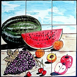 Kitchen Backsplash Fruit 9-tile Ceramic Mosaic