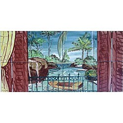 'Landscape River View' 8-tile Ceramic Mosaic Mural