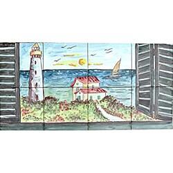 'Minaret View' 8-tile Ceramic Mosaic Mural