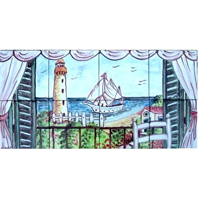 Decorative 'Light House View' 8-tile Ceramic Mosaic Mural