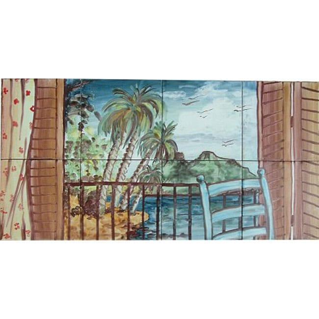 Mosaic 39 landscape island view 39 8 tile ceramic wall mural for Ceramic wall mural