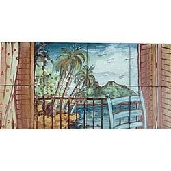 Mosaic 'Landscape Island View' 8-tile Ceramic Wall Mural