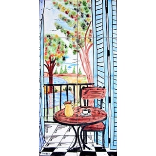 Mosaic 'Landscape Balcony View' 8-tile Ceramic Wall Mural