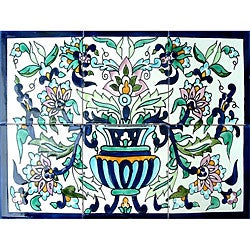 Mosaic 'Horizontal Floral Pot' 6-tile Ceramic Wall Mural