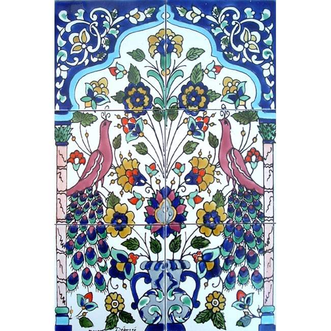 Decorative Wall Tile Art : Mosaic antique looking art peacock tile ceramic wall