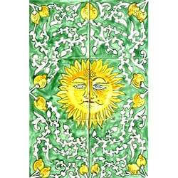 Mosaic 'Shining Sun' 6-tile Ceramic Wall Mural