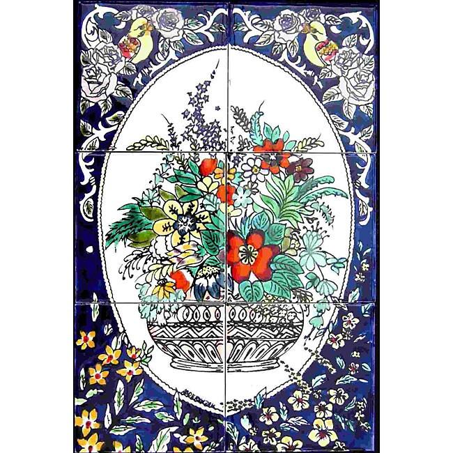 Mosaic 'Vertical Floral Pot' 6-tile Ceramic Wall Mural