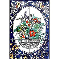 Mosaic 'Vertical Floral Pot' 6-tile Ceramic Wall Mural
