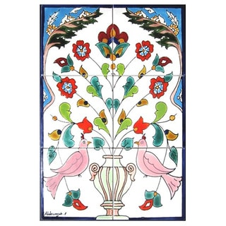 Mosaic 'Floral Pink Doves' 6-tile Ceramic Wall Mural