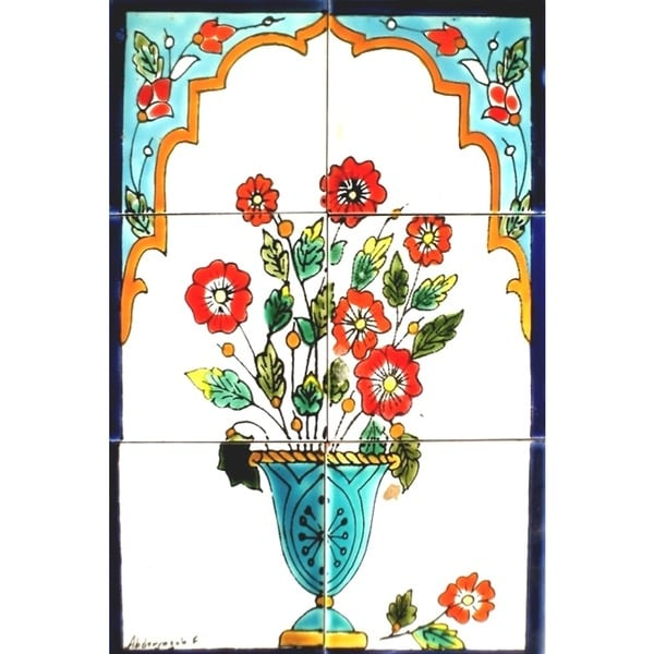 Mosaic 'Red Flowers' 6-tile Ceramic Wall Mural