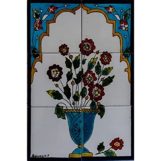 Mosaic 'Red Flowers' 6-tile Ceramic Wall Mural