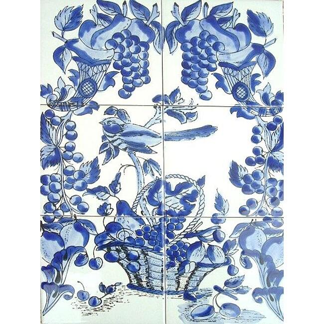 Mosaic 39 blue mix 39 6 tile ceramic wall mural 11615244 for Ceramic wall mural