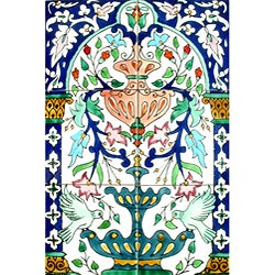 Green Doves-n-Fountain 6-tile Ceramic Mosaic Mural