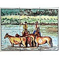 Cowboys Crossing River 6-tile Ceramic Mosaic Mural