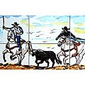 Cowboy Round-up 6-tile Ceramic Mosaic Mural