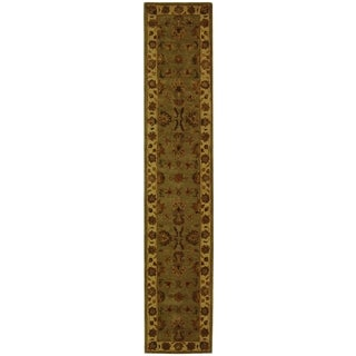 Safavieh Handmade Heritage Kerman Green/ Gold Wool Runner (2'3 x 4')