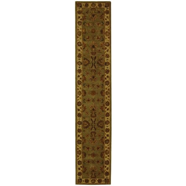 Safavieh Handmade Heritage Kerman Green/ Gold Wool Runner (2'3 x 4')