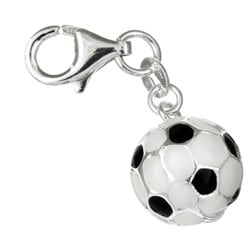 Sterling Essentials Sterling Silver Enamel Soccer Ball Charm