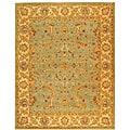 Handmade Antiquities Treasure Teal/ Beige Wool Rug (9'6 x 13'6)